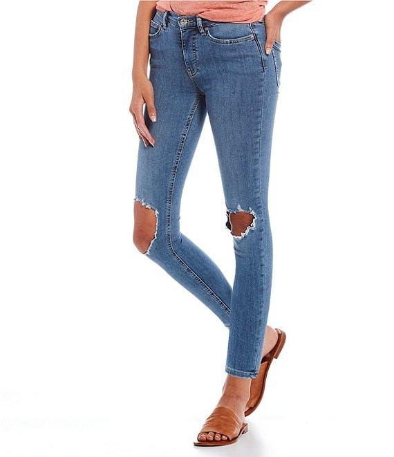 Color:Mid Stone Blue - Image 1 - We The Free Busted Skinny Jeans