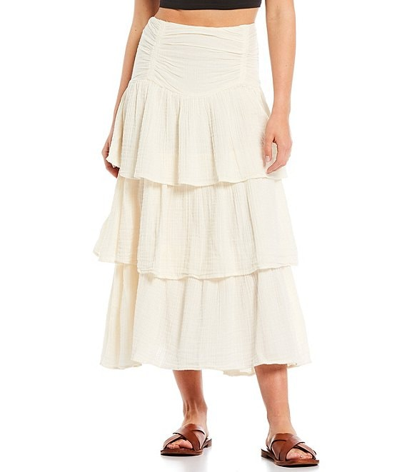 Color:Solitary Star - Image 1 - Can't Stop The Spring Tiered Midi Skirt