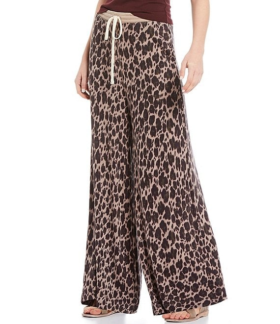 Color:Stone Combo - Image 1 - Cheet Day Animal Print Wide Leg Pant