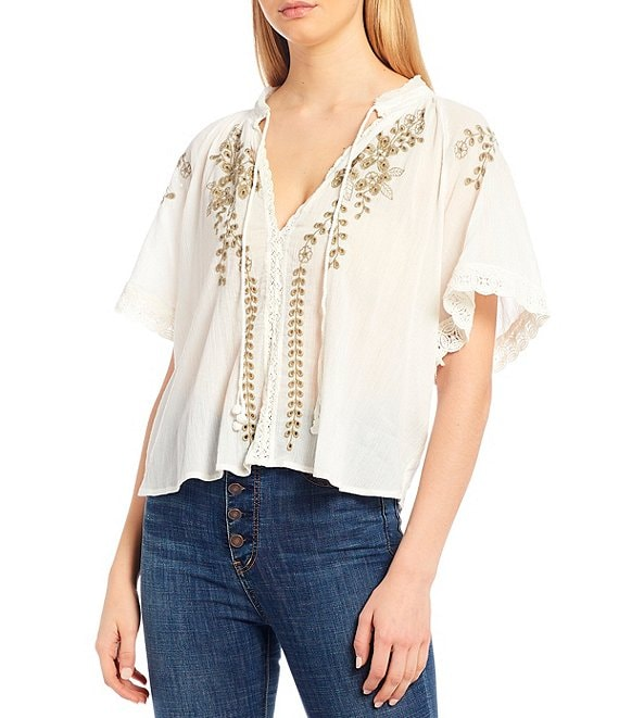 Color:Ivory - Image 1 - Dahlia Embroidered Short Sleeve Blouse