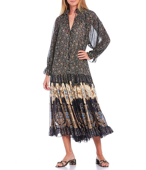 Color:Midnight Combo - Image 1 - Feeling Groovy Floral Print Long Sleeve Midi Dress
