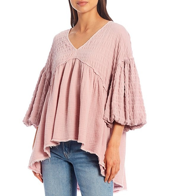 Color:Daytime Fireworks - Image 1 - Flower Power 3/4 Balloon Sleeve V-Neck Knit Top