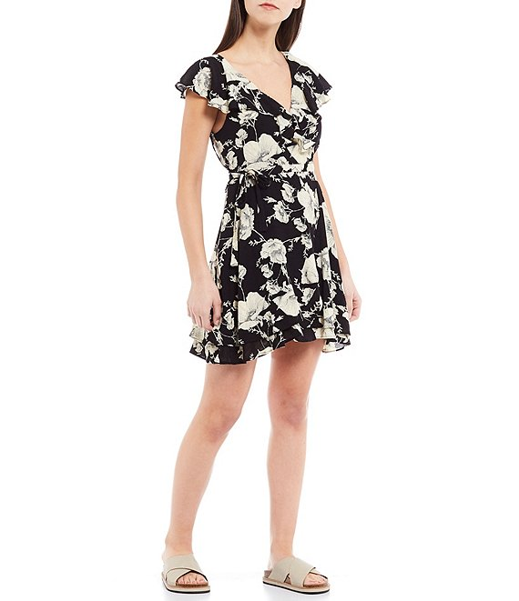 Color:Onyx Combo - Image 1 - French Quarter Floral Print Ruffle V-Neck Mini Dress