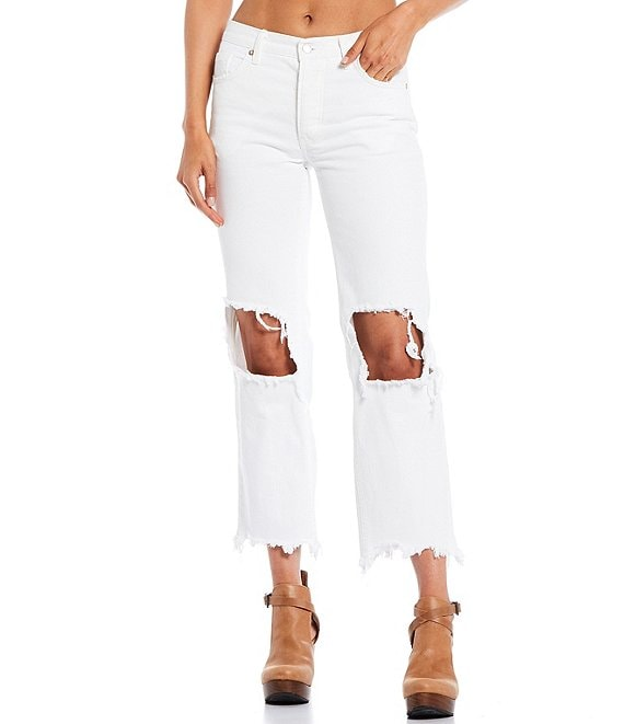 Color:Optic White - Image 1 - Maggie Straight Mid Rise Distressed Denim Jeans
