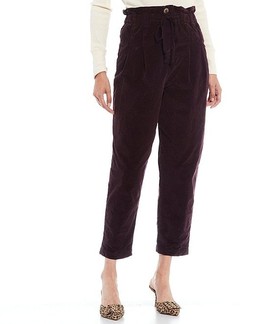 Color:Panther Rose - Image 1 - Margate High Rise Corduroy Paperbag Waist Straight Leg Drawstring Detail Crop Pant