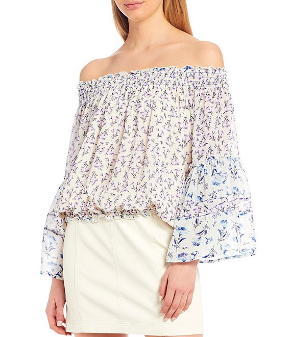 Color:Ivory Combo - Image 1 - Rose Valley Printed Off-The-Shoulder Volume Sleeve Blouse