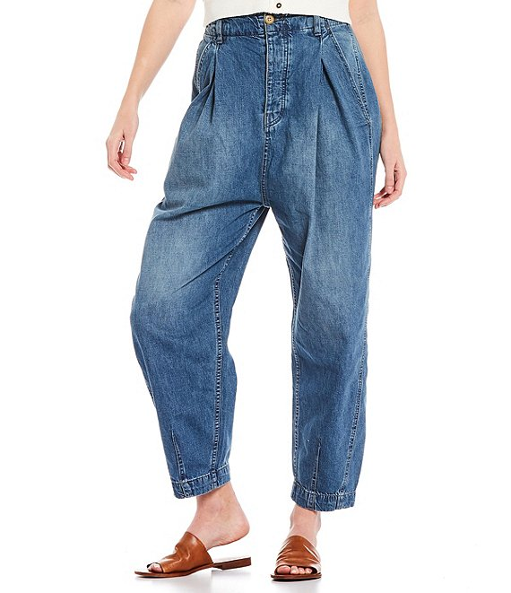 Color:Spruce Blue - Image 1 - Sawyer Pull-On Boyfriend Pleated High Waist Baggy Jeans