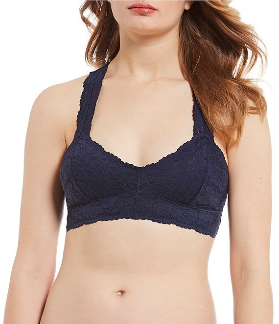 Color:Navy - Image 1 - Intimately FP Scalloped Floral Galloon Lace Racerback Bralette