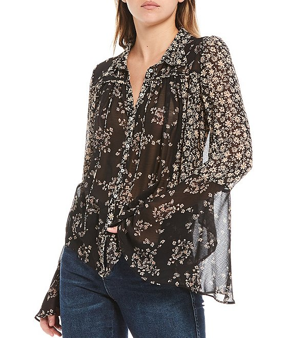 Color:Black Combo - Image 1 - Serena Floral Print Long Bell Sleeve Button Front Blouse