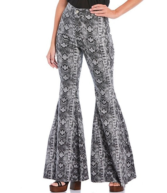Color:Snake Print - Image 1 - Snake Print Just Float On High Rise Flare Jeans