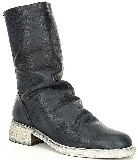 Color:Black - Image 1 - Sutton Tight Slouch Leather Block Heel Boots
