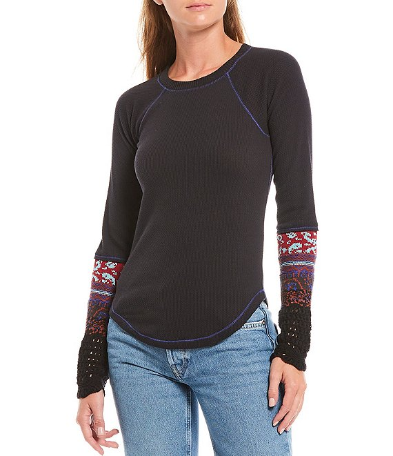 Color:Black Combo - Image 1 - The Mix Cuff Long Sleeve Knit Top