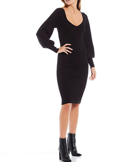 Color:Black - Image 1 - Joss Sweetheart Neck Puff Sleeve Knit Bodycon Dress