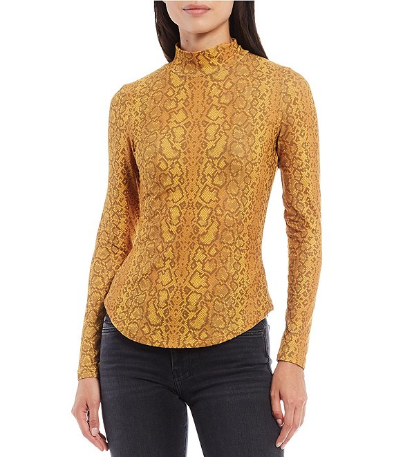 Color:Inca Gold Multi - Image 1 - Mock Neck Snake Skin Print Jersey Top