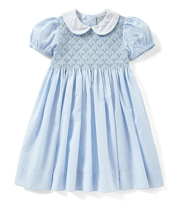 Color:Blue/White - Image 1 - Little Girls 2T-4T Floral Printed Smocked Dress