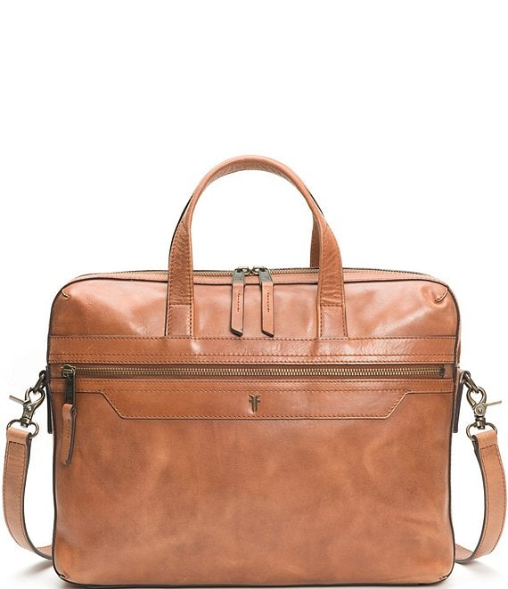 Color:Whiskey - Image 1 - Holden Leather Slim Brief Case