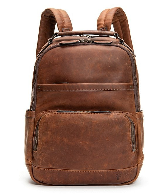 Color:Cognac - Image 1 - Logan Burnished Leather Backpack