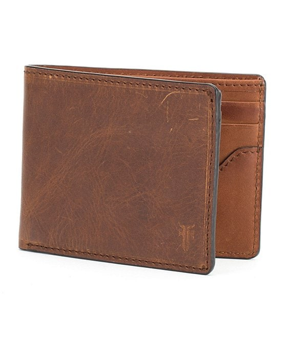 Color:Cognac - Image 1 - Logan Slim ID Leather Billfold Wallet