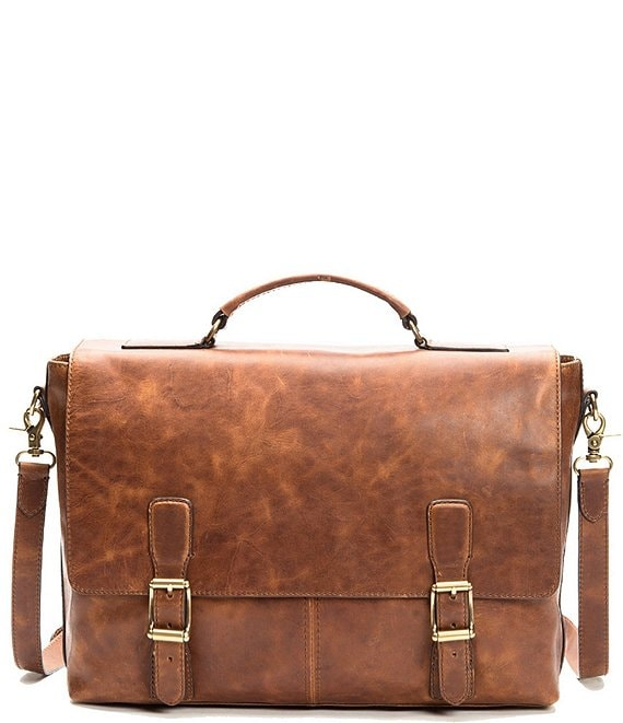 Color:Cognac - Image 1 - Logan Top Handle Leather Briefcase