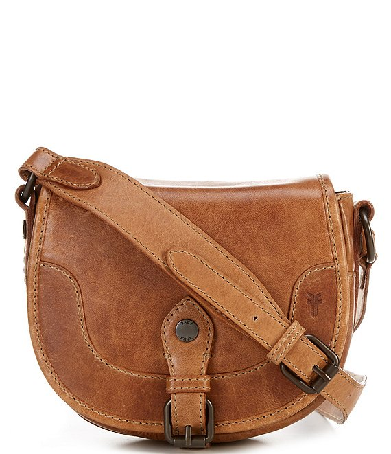 Color:Beige - Image 1 - Melissa Button Pull-Up Leather Saddle Bag