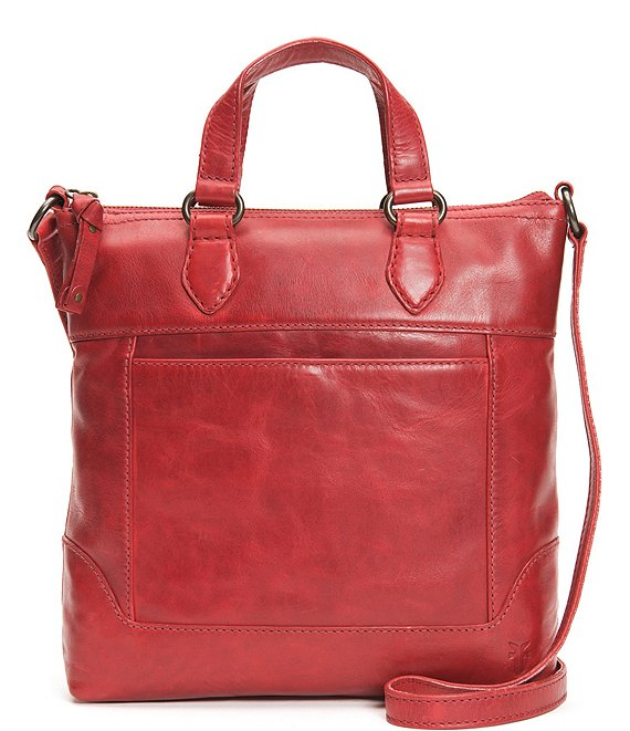 Color:Red - Image 1 - Melissa Small Tote Distressed Leather Crossbody Bag