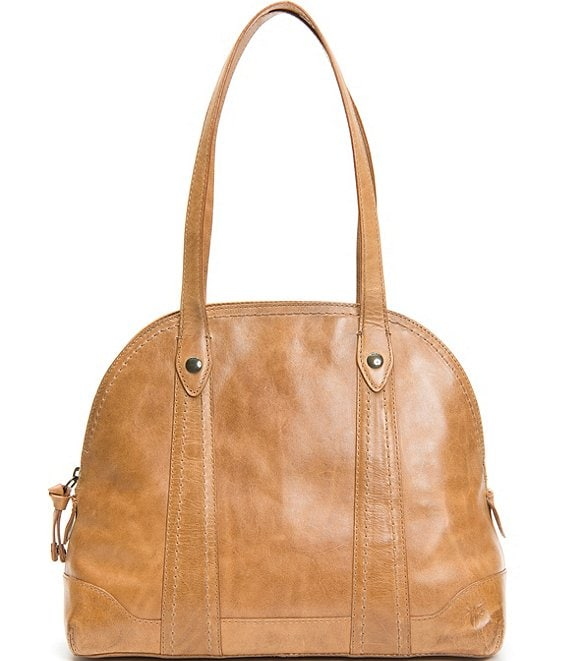 Color:Beige - Image 1 - Melissa Zip Domed Leather Satchel Bag