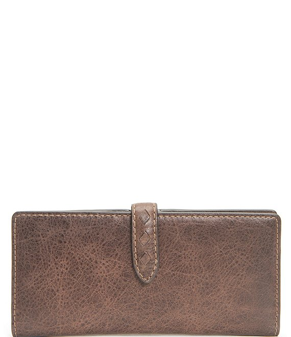 Color:Dark Brown - Image 1 - Reed Slim Leather Snap Wallet
