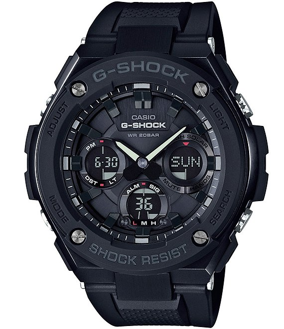 Color:Black - Image 1 - G-Steel Solar-Powered Resin-Strap Ana-Digi Watch