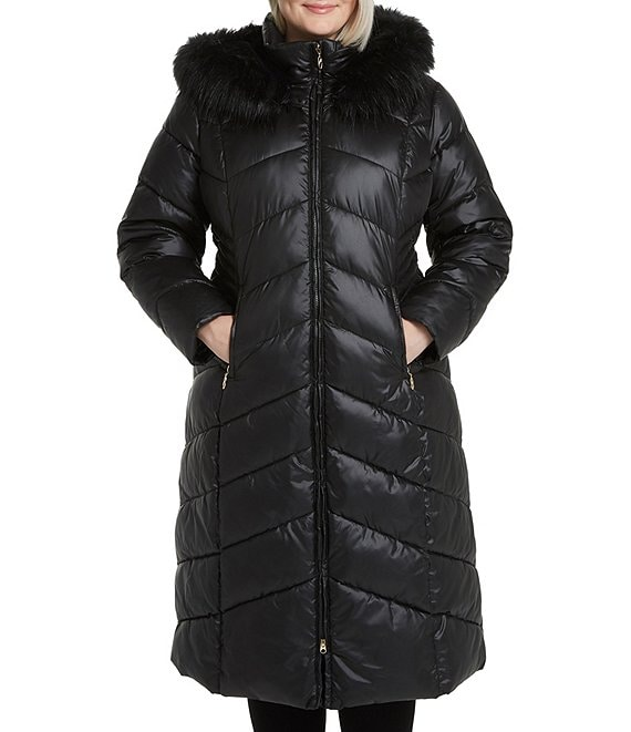 Gallery Plus Size Faux Fur Trim Hooded Polyfill Long Puffer Coat