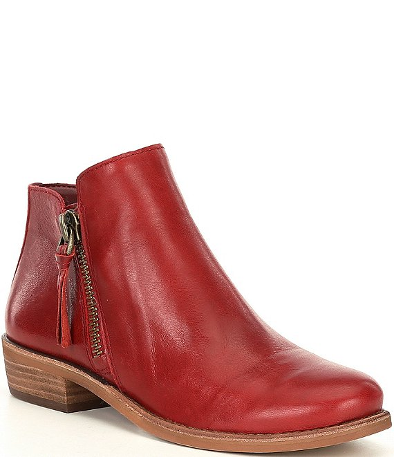 Color:Santorini Red - Image 1 - A-Lister Double Zip Closure Leather Block Heel Booties