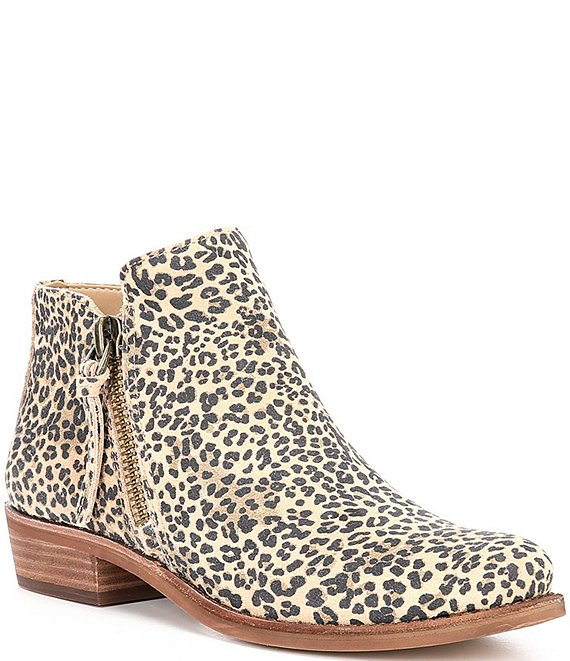 Color:Brown/Multi - Image 1 - A-Lister Suede Leopard Print Double Side Zip Block Heel Booties