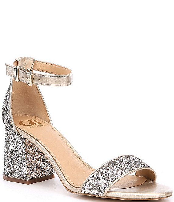 Color:Gold Fusion - Image 1 - Block-Party Glitter Two-Piece Sandals