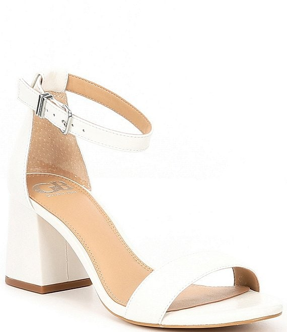 Color:White - Image 1 - Block-Party Leather Two-Piece Sandals