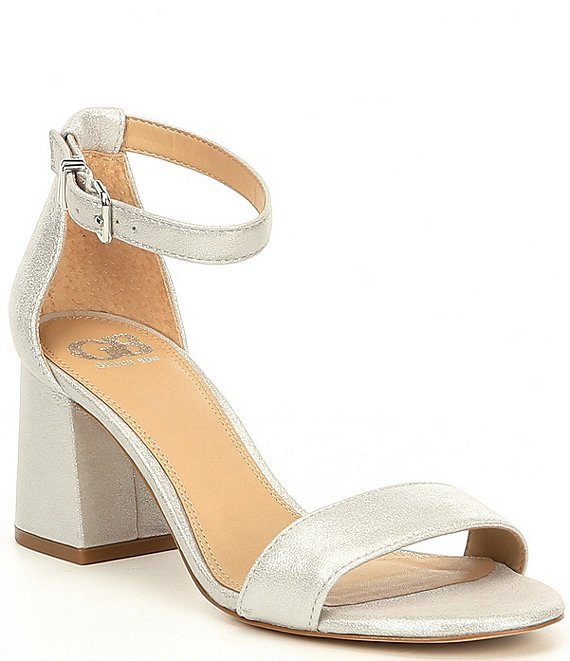 Color:Silver - Image 1 - Block-Party Leather Two-Piece Sandals