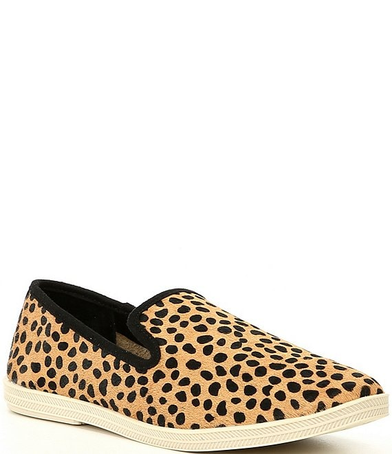 Color:Black/Tan - Image 1 - Campin-Out Leopard Haircalf Slip-On Sneakers