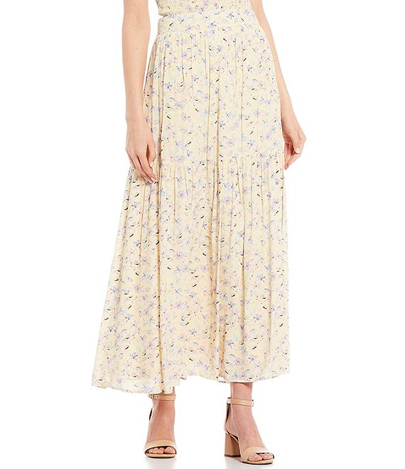 Color:Yellow/Multi - Image 1 - Coordinating Floral Maxi Skirt