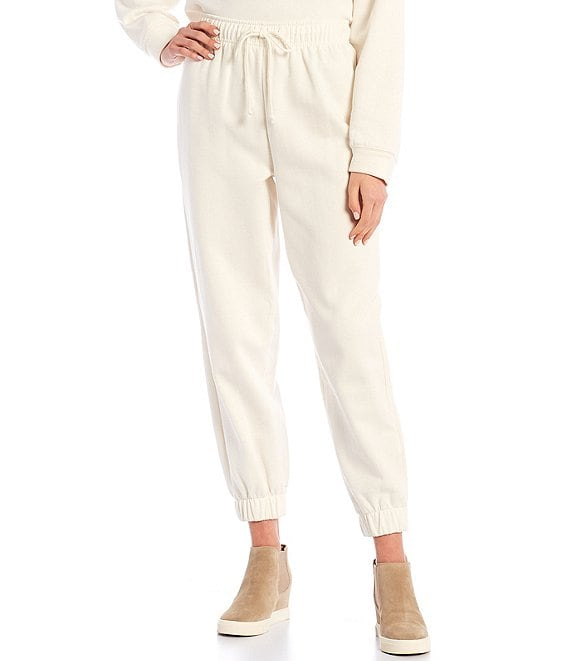 Color:Ivory - Image 1 - Coordinating Heathered Cuffed Jogger Pants