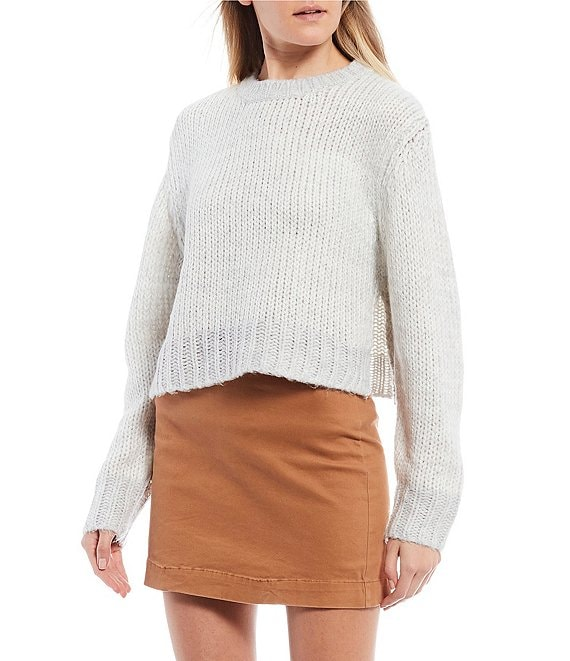 Color:Heather Grey - Image 1 - Cropped Ribbed Sweater