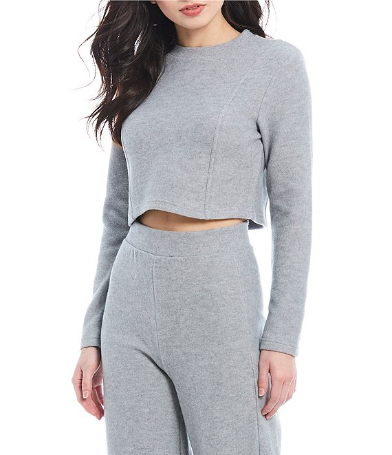 Color:Light Heather Gray - Image 1 - Coordinating Cropped Sweatshirt