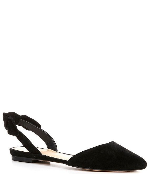 GB En-Pointe Suede Bow Detail Slingback Pointed Toe Flats