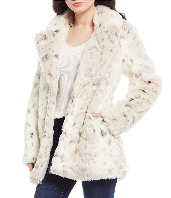 GB Cozy Faux Fur Snow Leopard Print Topper Coat