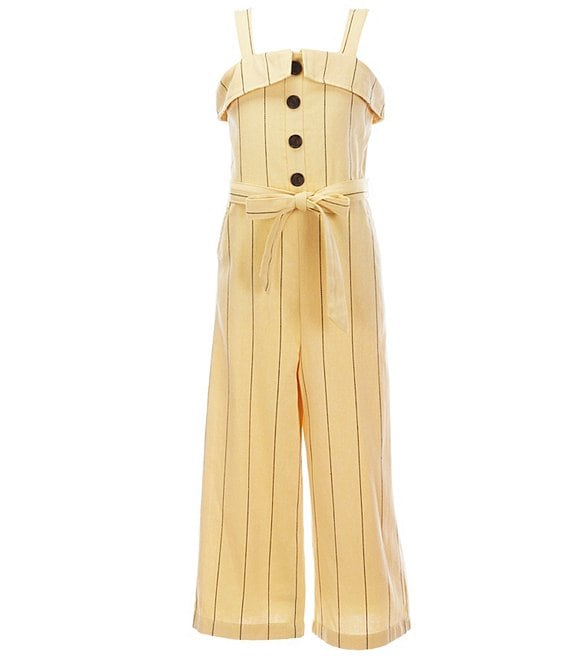 Color:Yellow - Image 1 - GB Girls Big Girls 7-16 Striped Tie Waist Wide Leg Jumpsuit
