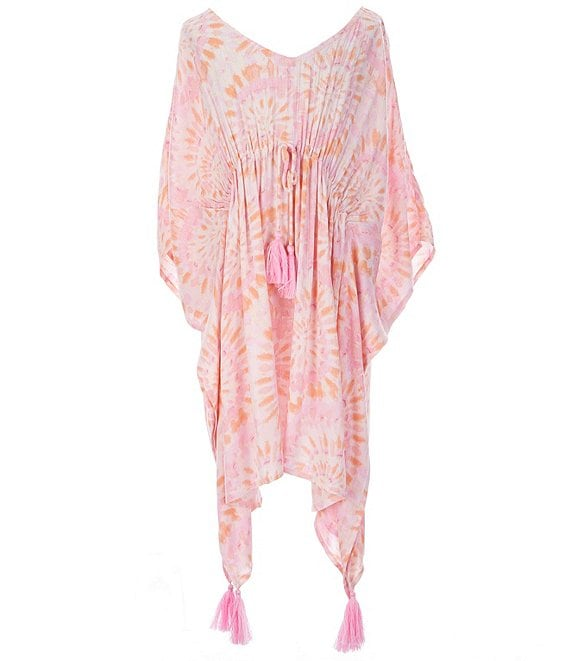 Color:Multi - Image 1 - GB Girls Big Girls 7-16 Tie-Dye Poncho Swimsuit Coverup