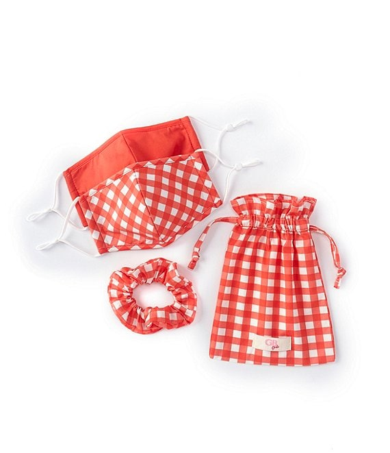 Color:Red/Multi - Image 1 - GB Girls Little Girls 4-6 2-Piece Solid/Checked Adjustable Cloth Face Masks, Scrunchie, & Sachet Set
