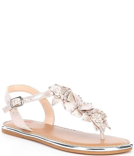 Color:Soft Nude - Image 1 - Girls' Beauty-Girl Floral T-strap Flat Sandals (Toddler)