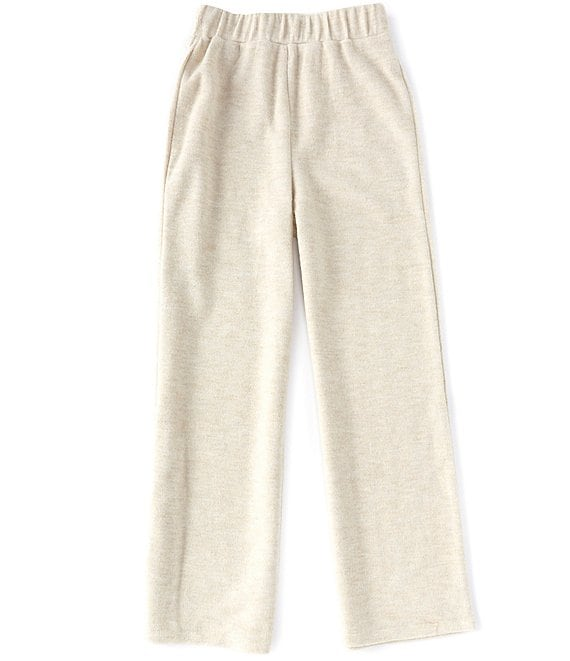 Color:Heather Oat - Image 1 - GB Girls Big Girls 7-16 Brushed Knit Wide Leg Sweatpant