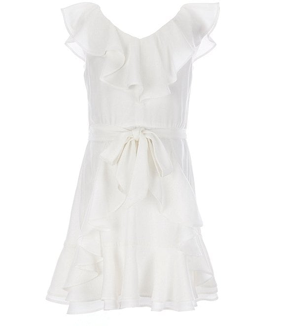 Color:White - Image 1 - GB Girls Big Girls 7-16 Tiered Ruffles A-Line Dress