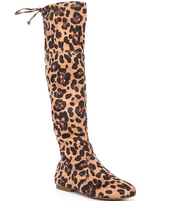 Color:Brown Multi - Image 1 - Girls' Fremaux-Girl Leopard Print Stretch Over the Knee Boots (Toddler)