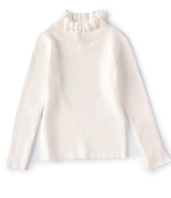 Color:Winter White - Image 1 - GB Girls Little Girls 2T-6X Long Sleeve Ruffle Neck Sweater