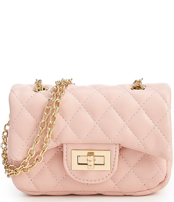 Color:Rose - Image 1 - Girls Quilted Crossbody Handbag
